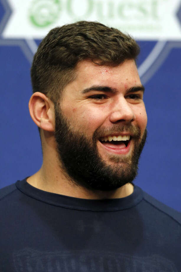 New York Giants' Justin Pugh speaks speaks during an NFL football news conference, Thursday, April 23, 2015, in East Rutherford, N.J. (AP Photo/Julio Cortez)