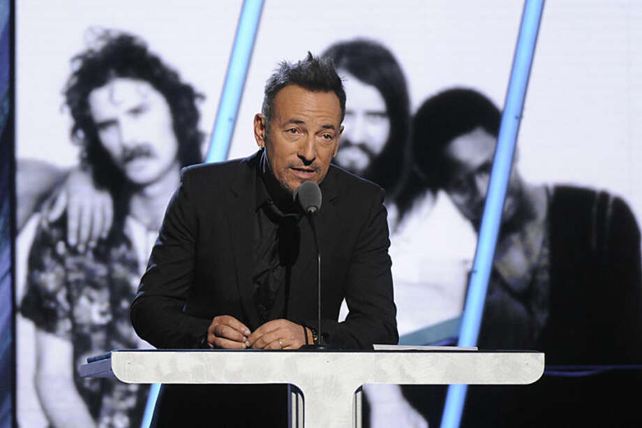 Bruce Springsteen speaks at the 2014 Rock and Roll Hall of Fame Induction Ceremony on Thursday, April, 10, 2014 in New York. (Photo by Charles Sykes/Invision/AP)