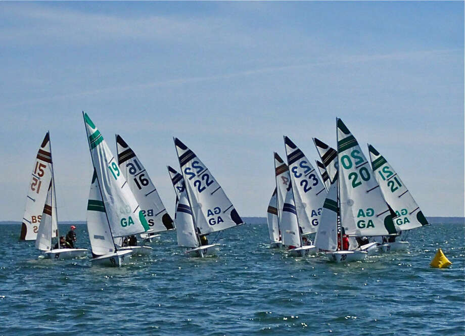 Boats compete during the New England Schools Sailing Association O'day Championships Qualifier at Indian Harbor Yacht Club on Saturday, April 16 2016 in Greenwich, Conn.