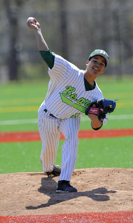 Norwalk pitcher Ambi Liriano in the first inning against New Fairfield during a FCIAC boys baseball game in Norwalk on April 16, 2016. New Fairfield defeated Norwalk 11-6.