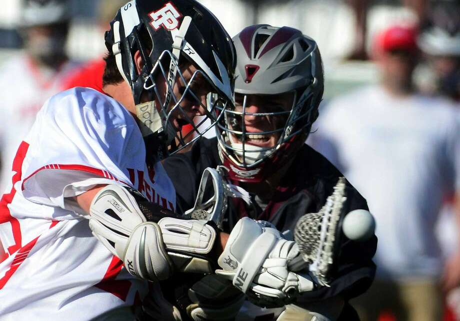 Fairfield Prep's Brendan Hoffman attempts a goal shot during boys lacrosse action against Don Bosco Prep at Fairfield University in Fairfield, Conn., on Saturday Apr. 16, 2016.