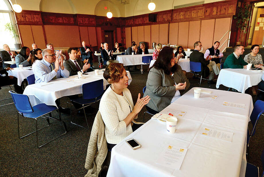 Hour photo / Erik Trautmann The 2nd annual Mayor's Summer Youth Employment Breakfast Wednesday at City Hall where businesses learned of the benefits of interning Norwalk High School students.