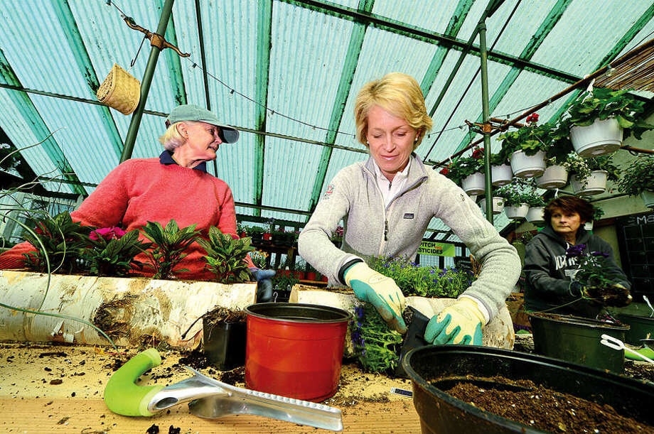 Hour photo / Erik Trautmann Rowayton Gardeners members Susanne Miller and Eliot Jacobs make potted plant designs for the annual Spring Plant Sale this Saturday.