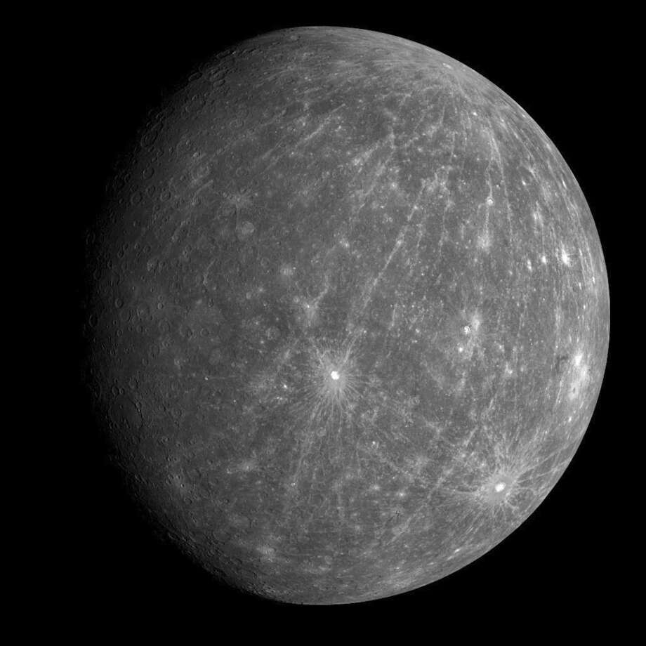 This Oct. 6, 2008 photo provided by NASA shows Mercury during the Messenger spacecraft's second flyby of the planet. (NASA, Johns Hopkins University Applied Physics Laboratory, Carnegie Institution of Washington via AP)