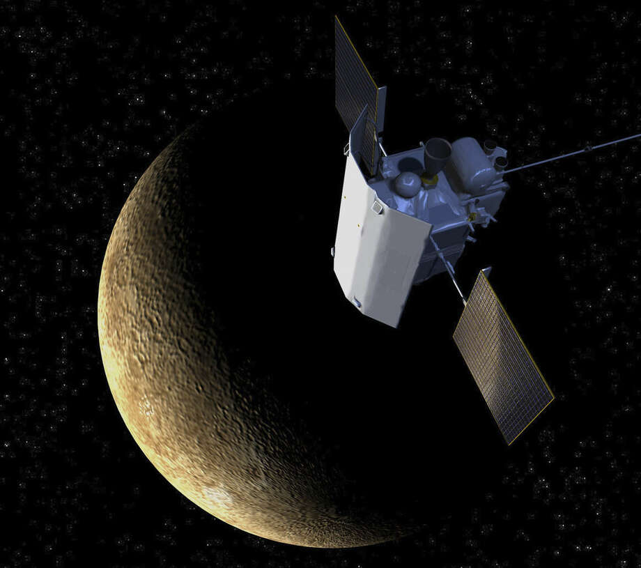 This artist's rendering provided by the Johns Hopkins University Applied Physics Laboratory shows the sunshade on the MErcury Surface, Space ENvironment, GEochemistry, and Ranging (Messenger) around the planet Mercury. The sunshade shields the spacecraft's instruments from heat and solar radiation. (Johns Hopkins University Applied Physics Laboratory via AP) Image converted using ifftoany