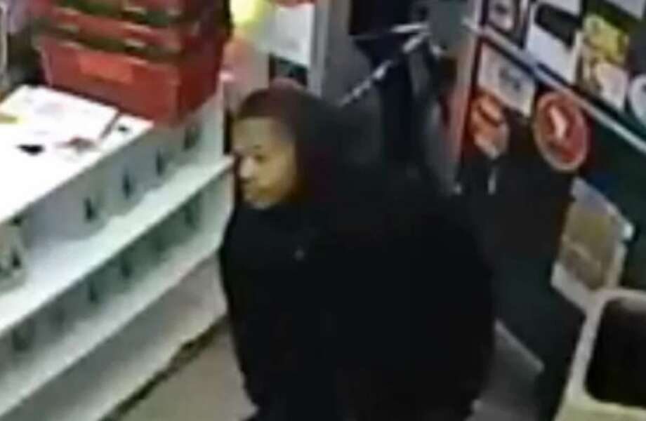 This surveillance image provided by the Stamford Police Department shows one of three suspects who allegedly robbed a man Sunday on Garden Street.