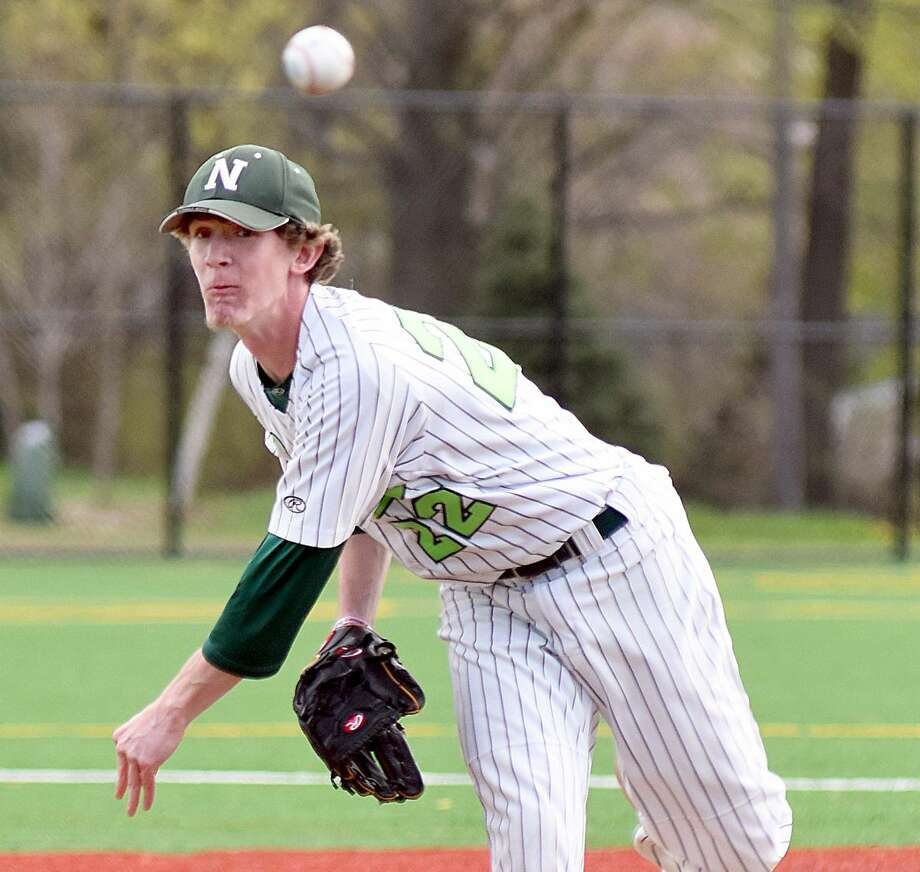 Norwalk pitcher Ryan Searles delivers to the plate during his 90-pitcher, two-hit, 5-0 victory over New Canaan on Monday in Norwalk.