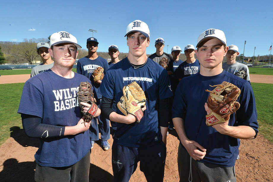 Wilton starting pitchers from left, Trevor Blond, JT Morin, Jackson Ward have had a great start to season, helping Wilton to an 8-1 overall record. (Hour Photo/Alex von Kleydorff)