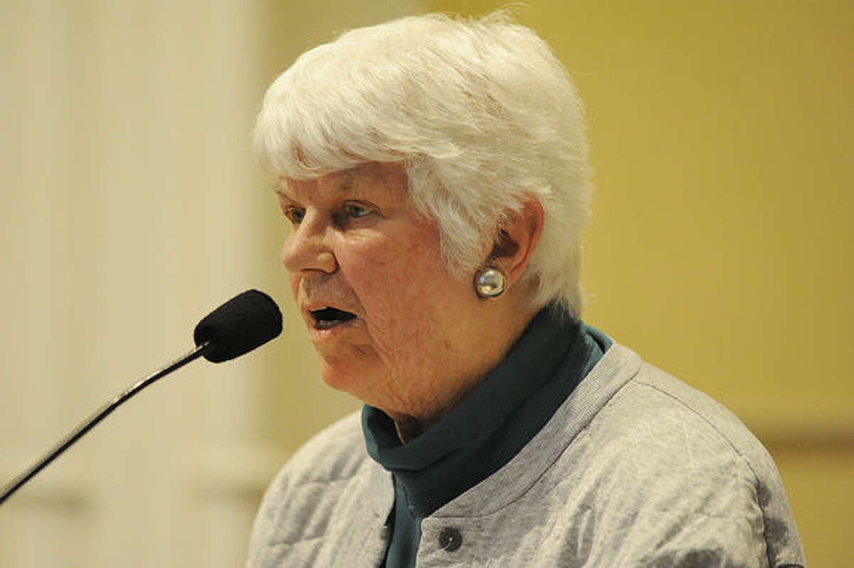 Westport resident Joann Davidson speaks out Tuesday at Westport Town Hall on the vote for proposed reversal of the town's Planning and Zoning Commission determination to keep Baron's South property open space. Hour photo/Matthew Vinci