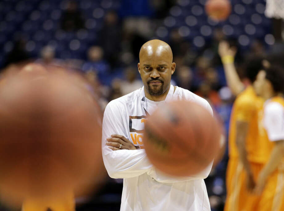 FILE - In this March 27, 2014, file photo, Tennessee head coach Cuonzo Martin watches his team during practice for the NCAA Midwest Regional semifinal college basketball tournament game in Indianapolis. Cal announced the hiring of Tennessee's Martin Tuesday, April 15. He replaces Mike Montgomery, who retired last month after six seasons in Berkeley. (AP Photo/David J. Phillip, File)