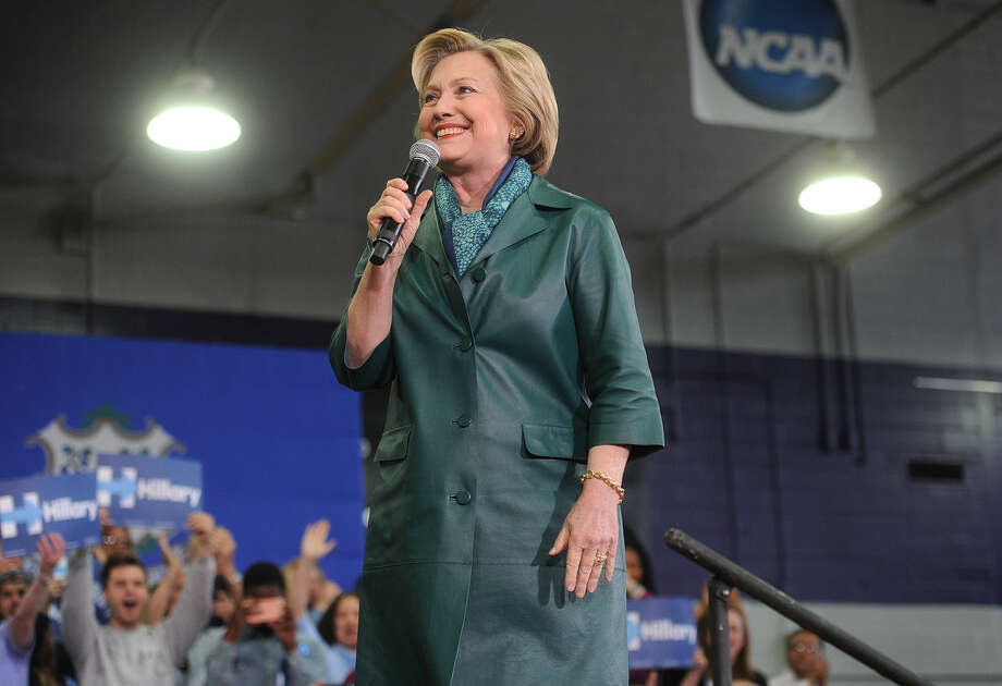 Democratic presidential primary candidate Hillary Clinton is welcomed to the stage by a packed house of supporters during a campaign rally at the Harvey Hubbell gymnasium at the University of Bridgeport in Bridgeport, Conn. on Sunday, April 24, 2016.