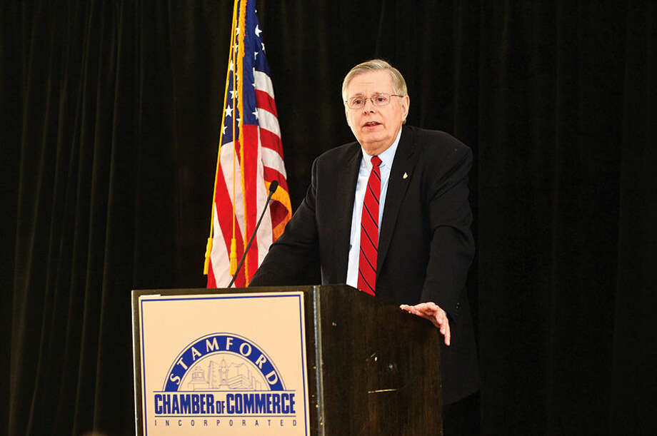 """Mayor David Martin delivers his annual """"State of the City"""" address to the Stamford Chamber of Commerce during a luncheon at the Stamford Hilton."""