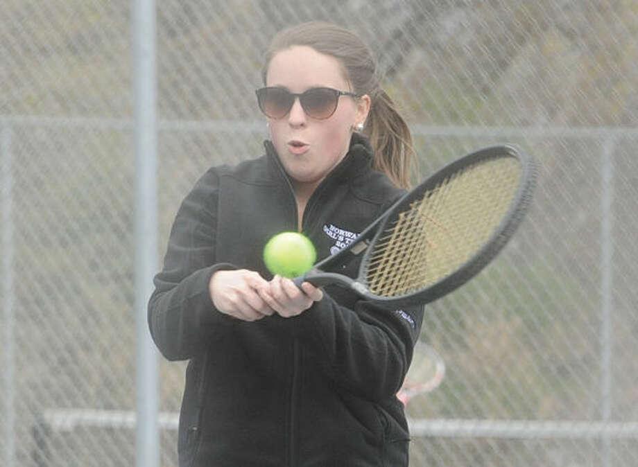 Amy Newsome, Norwalk High school girls tennis. Hour photo/Matthew Vinci