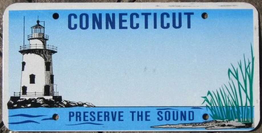 The Saybrook lighthouse is pictured on Connecticut's Save the Sound license plates.