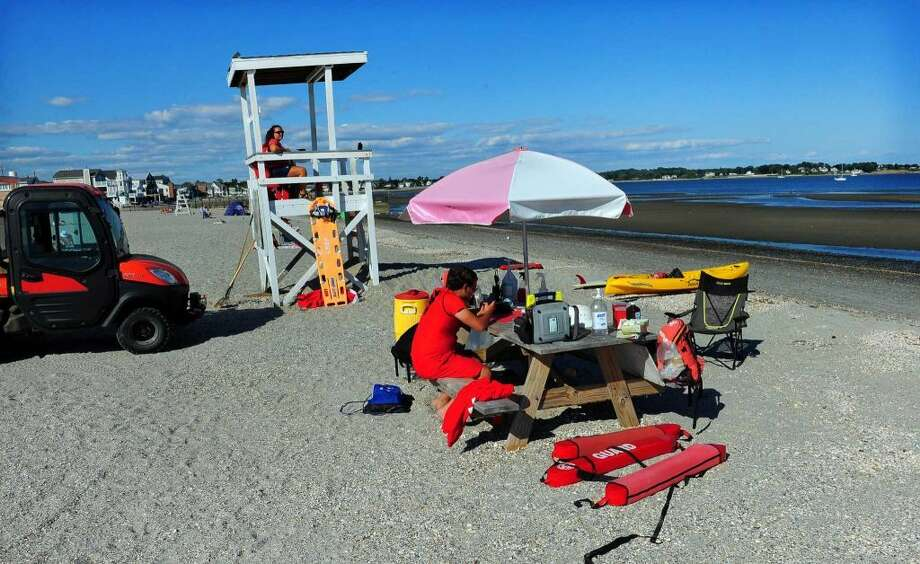 Lifeguards on duty at Silver Sands State Park in Milford, Conn., on Friday Aug. 28, 2015. (Photo: Christian Abraham)