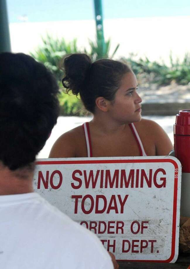 Leann Moy breaks from lifeguard duty at Cummings Beach in Stamford, Conn., July 16, 2012. (Photo: Keelin Daly)