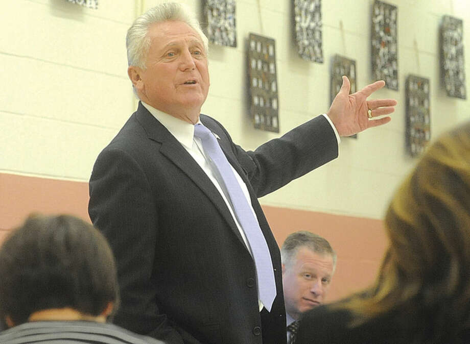Hour photo/Matthew VinciNorwalk Mayor Harry Rilling speaks at the Mayor's Night Out event held at Marvin School in Norwalk on Monday.