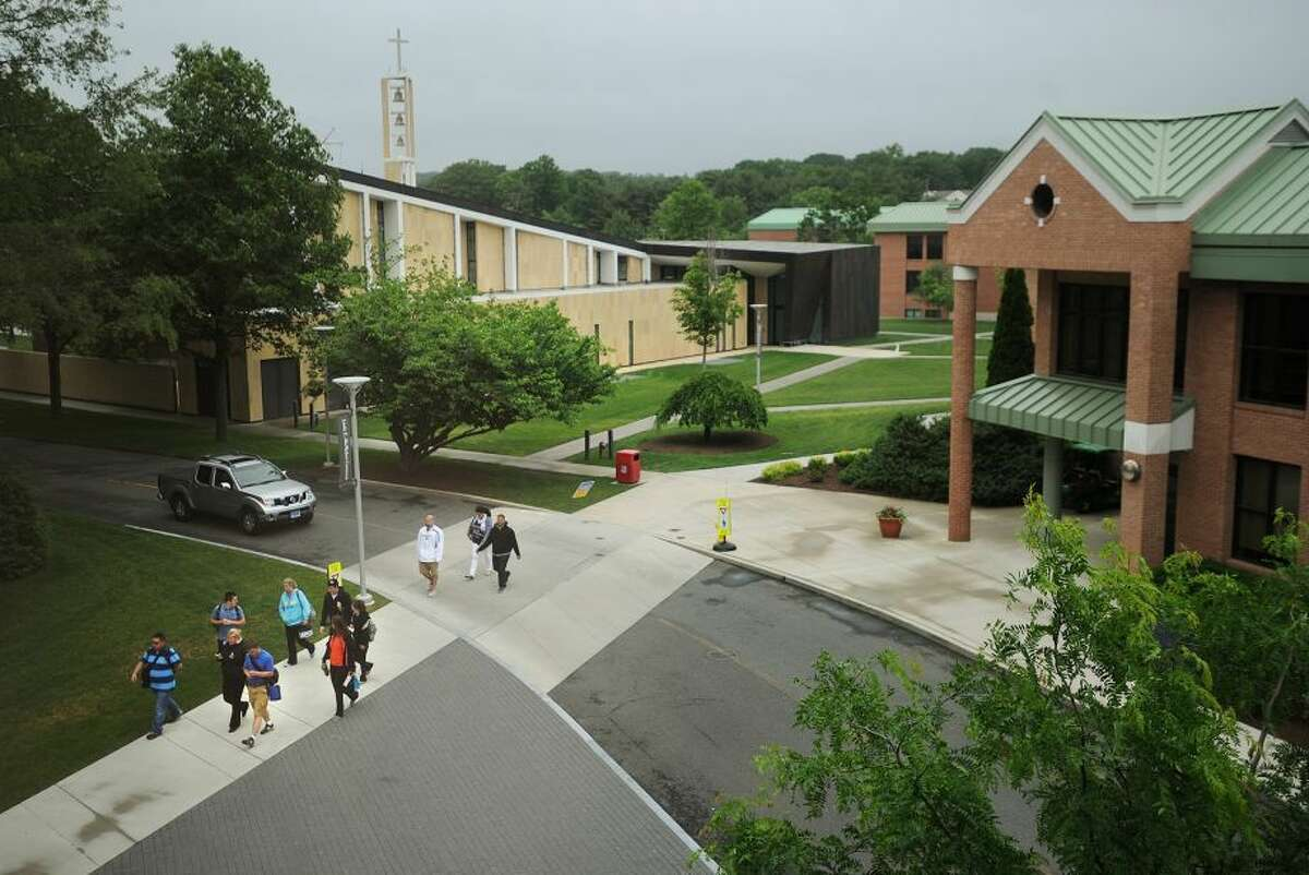 Students walk across the Sacred Heart University campus in Fairfield. (Photo: Brian Pounds)