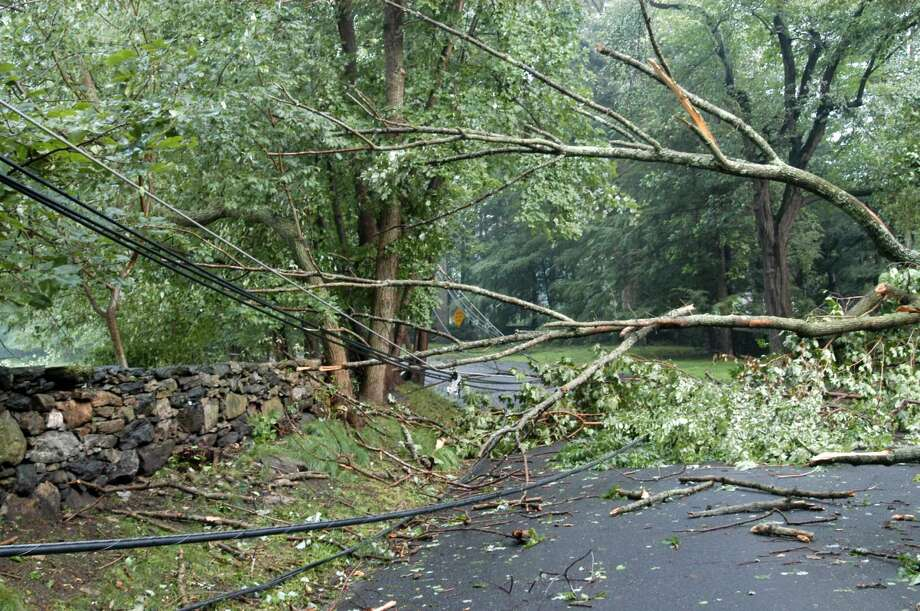 071206--Cherry Valley Road--Greenwich--A tornado ripped through the back country of Greenwich Wednesday afternoon leaving a path of downed trees and power lines in its wake both across roads and on top of cars and other private property. Keelin Daly/ Staff Photo