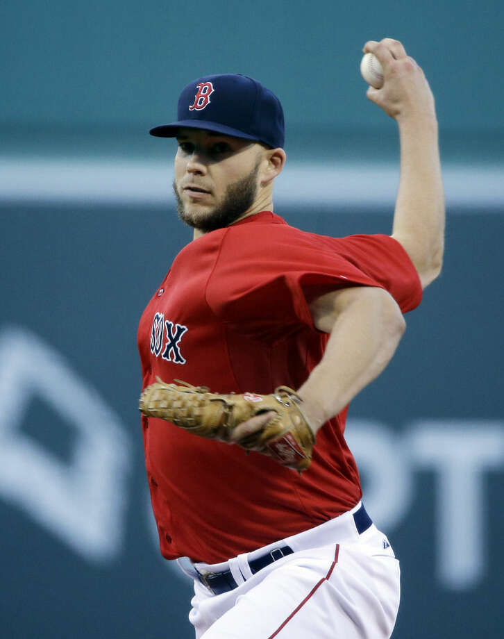 Boston Red Sox starting pitcher Justin Masterson delivers to the New York Yankees in the first inning of a baseball game at Fenway Park in Boston, Friday, May 1, 2015. (AP Photo/Elise Amendola)