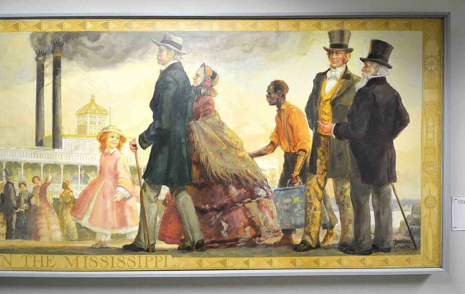 Detail of a Circa 1850 mural 'Steamboat days on the Mississippi' hangs in Norwalk City Hall in Norwalk.
