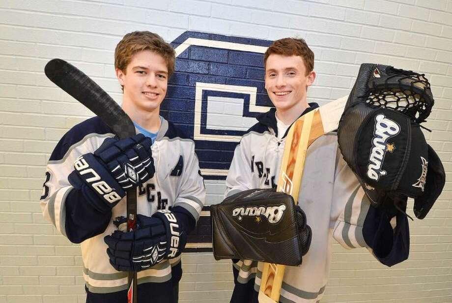 Hour Photo/Alex von Kleydorff Staples Hockey Jack Mendillo and Will Englehart