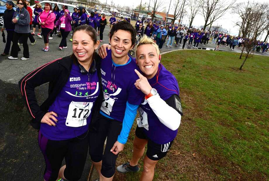 File Photo. Lily Morales, Dierdre Colavolpe and Linda Morales participates in the 11th Annual Whittingham Cancer Center Walk & Sally's Run at Calf Pasture Beach Saturday where more than 2,500 participants from Fairfield County turned to support, celebrate and remember all those fighting cancer as well as those we have lost to this disease on April 26, 2014.