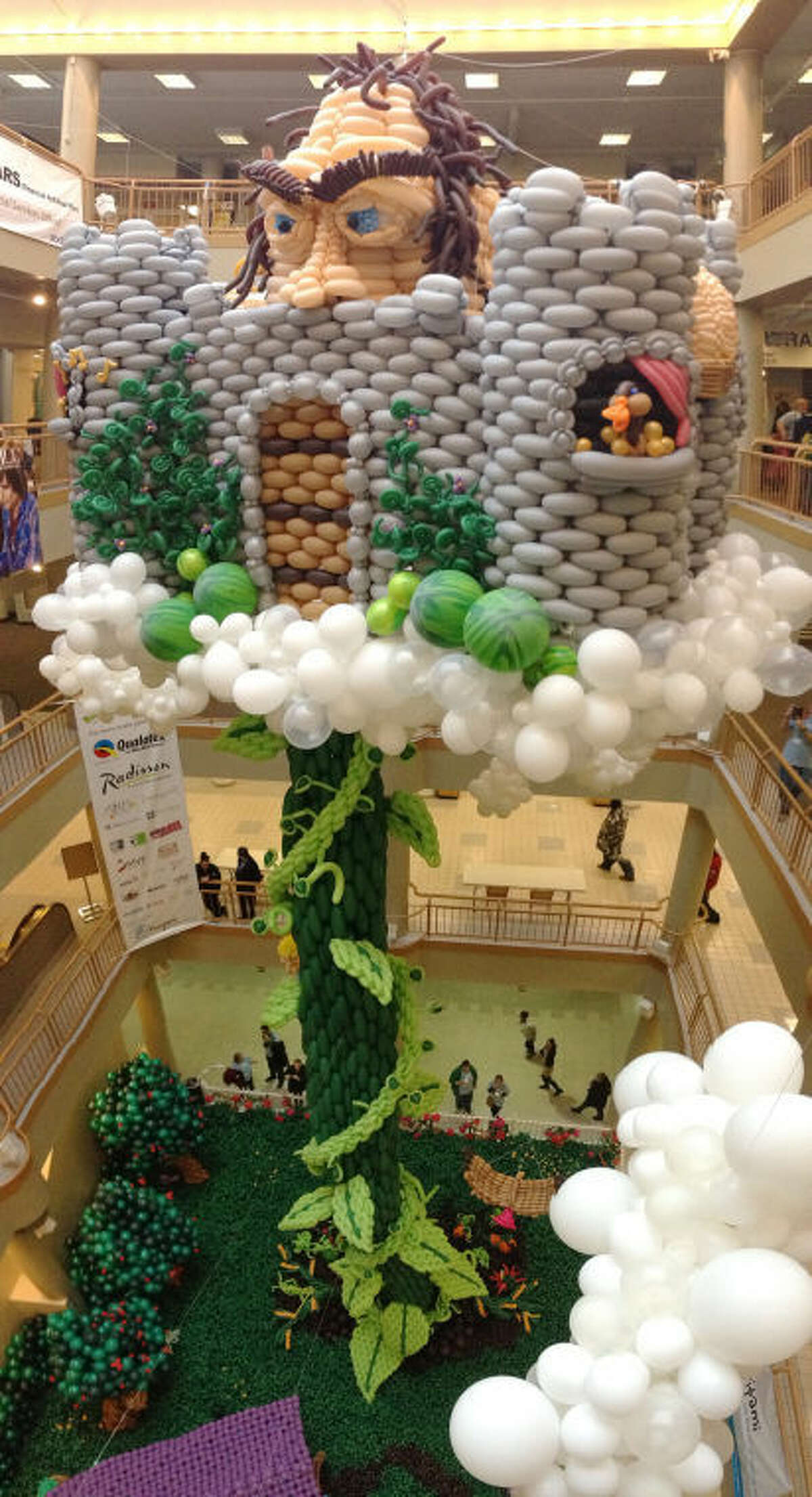 """Contributed photo The main piece of art of the exhibit """"Balloon Manor 2014: The VERY Tall Tale of Jack and his Beanstalk"""" in Rochester, NY?•s historic, downtown Sibley Building atrium, earlier this year."""