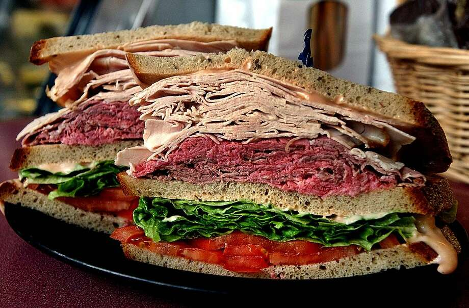 Times Union photo by STEVE JACOBS. 11/2/01, Niskayuna,NY-- GOOD FOOD --Roast Beef and Turkey sandwich at Gershon's Deli, Friday November 2,1001 ( for restaurant review ) 1 of 3 photos
