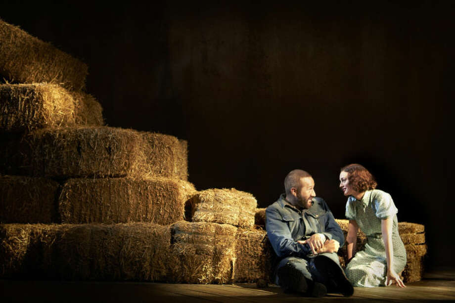 "This image released by Polk & Co. shows Chris O'Dowd, left, and Leighton Messter in a scene from ""Of Mice and Men,"" in New York. (AP Photo/Polk & Co., Richard Phibbs)"