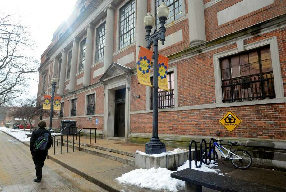 Burroughs-Saden Library, the main branch, on 925 Broad St. in Bridgeport, Conn.