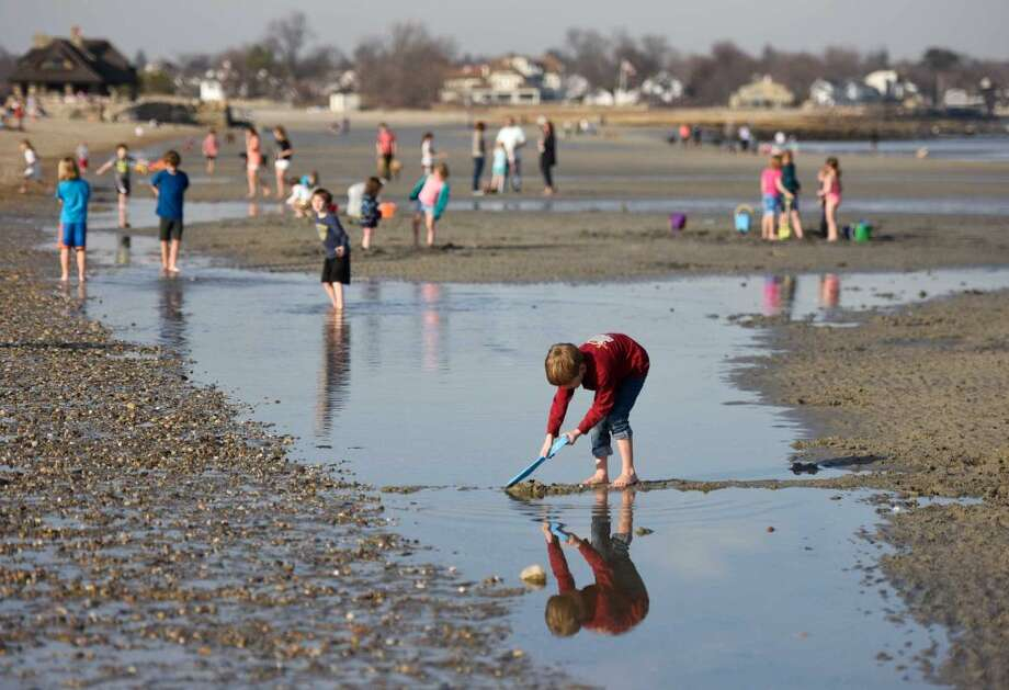 Mats Danger, 7, of White Plains, N.Y., shovels sand to make a dam on the beach at Greenwich Point Park in Old Greenwich, Conn. Wednesday, March 9, 2016. Hundreds of people and dogs crowded the beach as Greenwich's temperature Wednesday peaked in the mid-70s with more warm weather and a chance of rain expected Thursday.