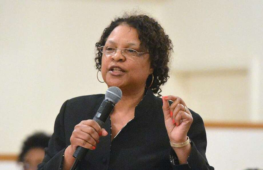 "Hour Photo/Alex von Kleydorff Rev. Joyce Blanding Lee from Calvary Baptist Church in Norwalk preaches during "" Seven Women at The Cross' at Friendship Baptist Church of Stamford."