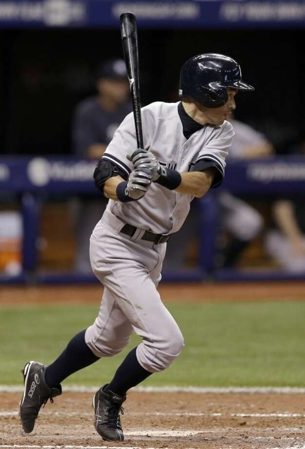 New York Yankees' Ichiro Suzuki, of Japan, grounds out to Tampa Bay Rays shortstop Yunel Escobar during sixth inning of a baseball game on Thursday, April 17, 2014, in St. Petersburg, Fla. (AP Photo/Chris O'Meara)