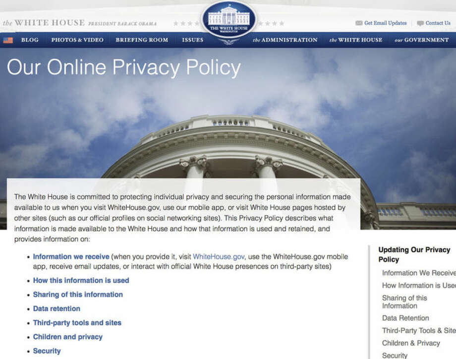 This Screen grab from the website WhiteHouse.gov taken Friday April 18, 2014 shows the screen explaining a new Obama administration privacy policy released Friday explaining how the government will gather the user data of online visitors to WhiteHouse.gov, mobile apps and social media sites, and it clarifies that online comments, whether tirades or tributes, are in the open domain. (AP Photo/WhiteHouse.gov)