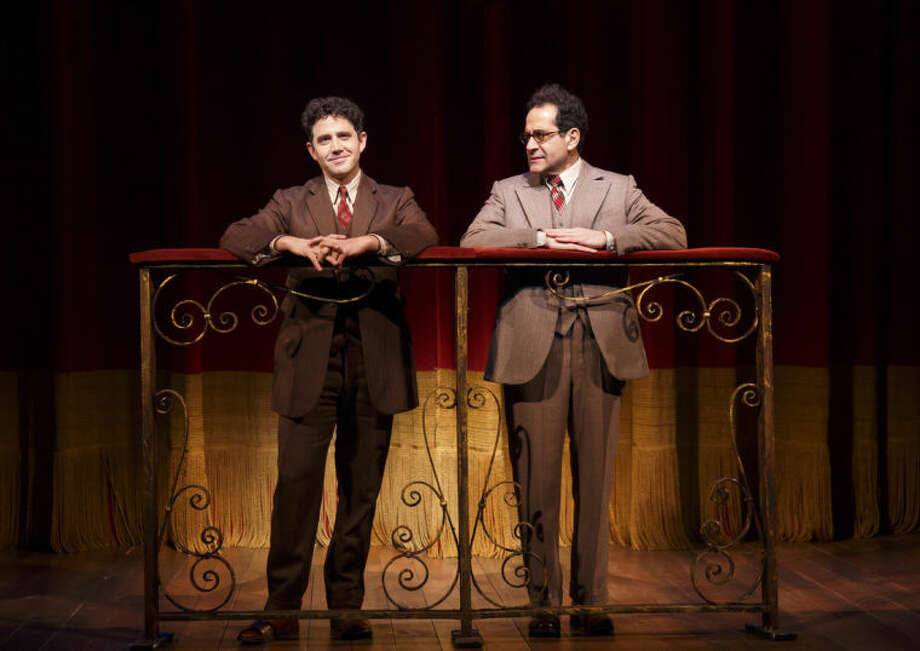 """AP Photo/Lincoln Center Theater, Joan MarcusThis image released by Lincoln Center Theater shows Santino Fontana, left, and Tony Shalhoub in a scene from """"Act One"""" at the Vivian Beaumont Theater in New York."""