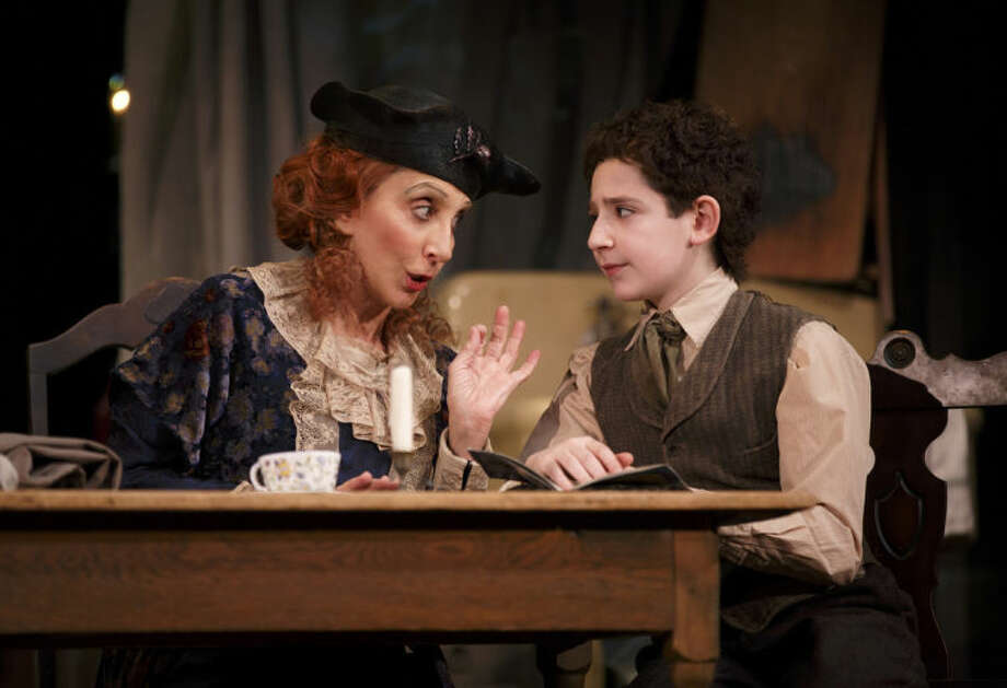 """This image released by Lincoln Center Theater shows Andrea Martin, left, and Matthew Schechter in a scene from """"Act One,"""" at the Vivian Beaumont Theater in New York. (AP Photo/Lincoln Center Theater, Joan Marcus)"""