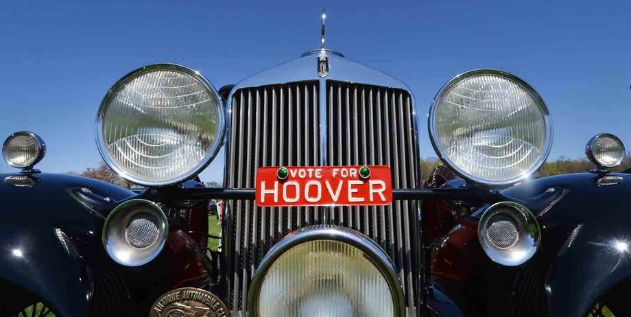This 1932 Hupmobile Roadster gets political at the 42nd Annual Gateway Antique Auto Show at Taylor Farm on Sunday in Norwalk Conn. April 24 2016