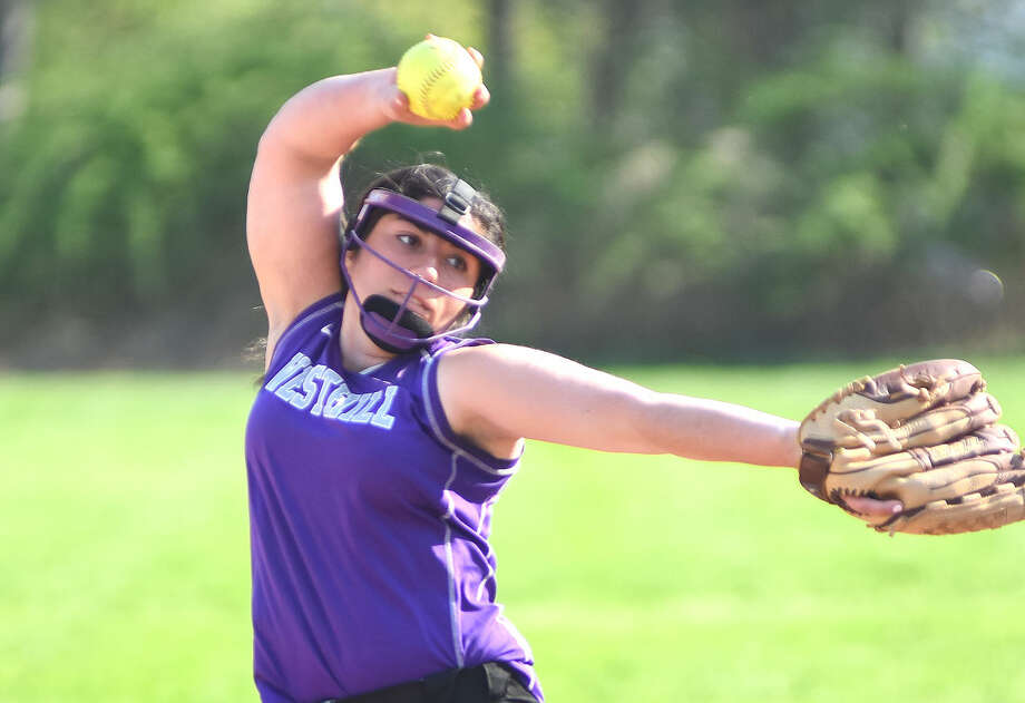 Westhill pitcher Casey Dicine rears back and gets ready to fire to the plate during Monday's 13-1 win over Trinity Catholic. The victory gave Westhill the 2014 City Championship.