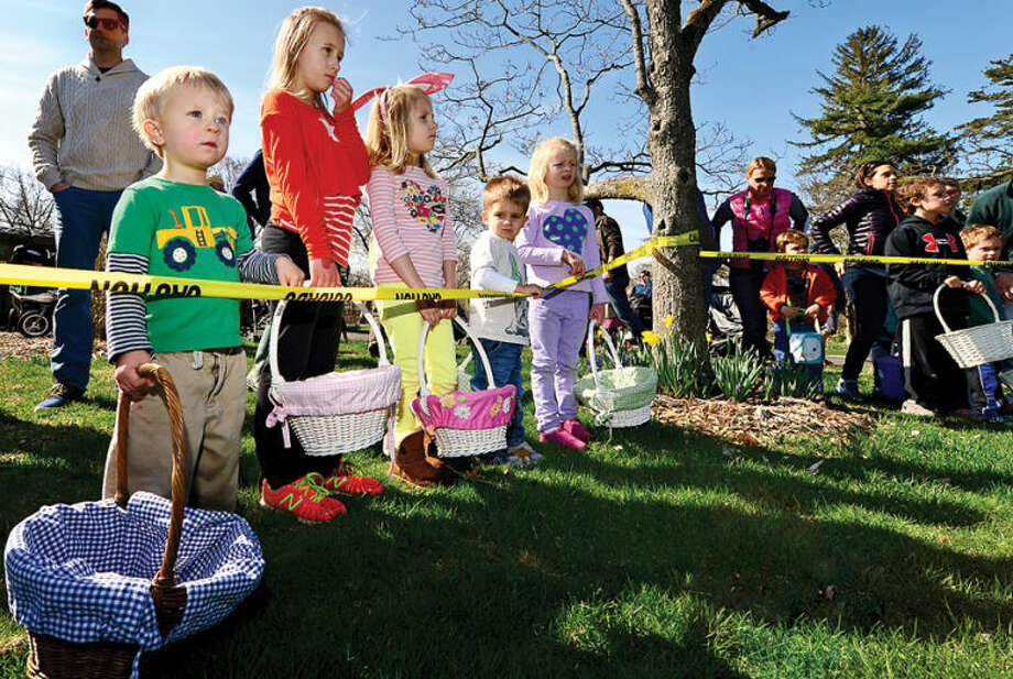 Hour photo / Erik Trautmann Participants get ready to search for eggs at the Rowayton Civic Association annual Easter Egg Hunt at the Rowayton Community Center Saturday
