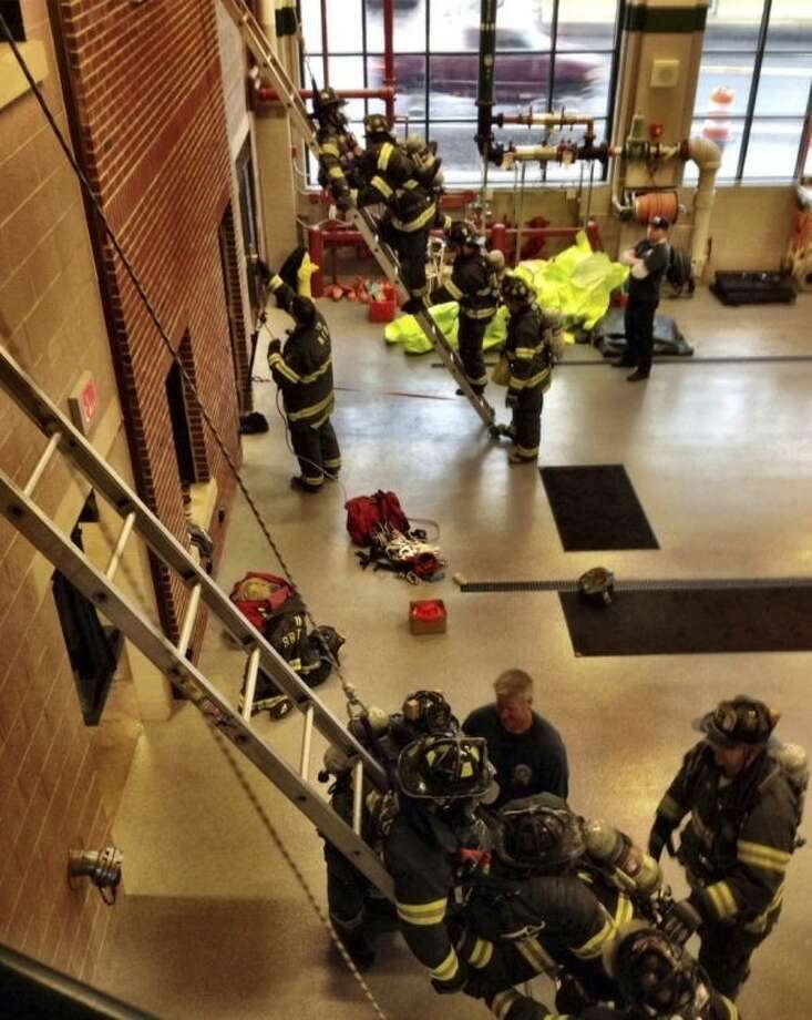 Contributed photoNorwalk Firefighters perform a training exercise earlier this week.