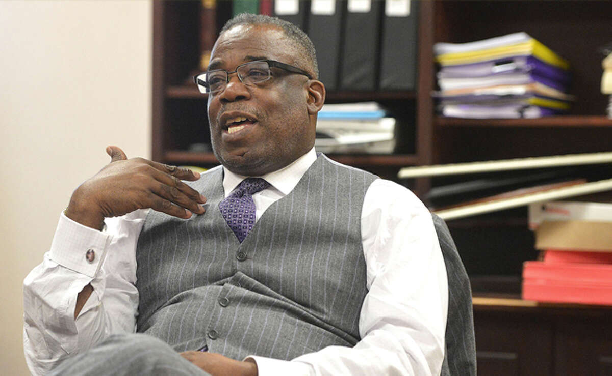 Hour Photo/Alex von Kleydorff Reverend Dr. Tommie Jackson talks about the future of NEON during a meeting in his office on Friday afternoon
