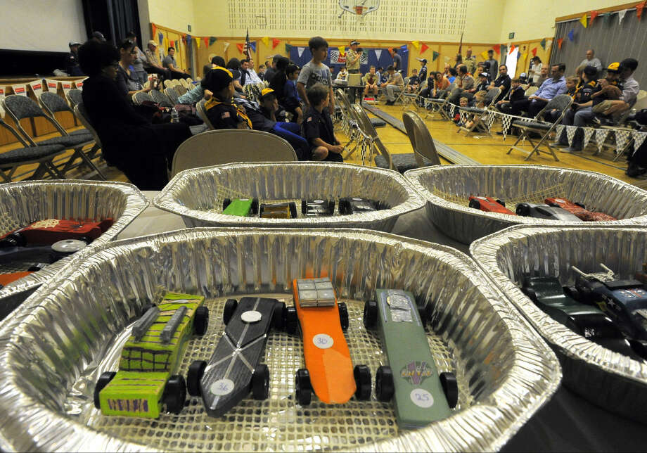 Racers standby for the heats during the Powahay District's Pinewood Derby Championship in New Canaan on April 30, 2016.