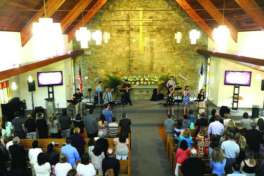 Live music for the Easter Sunday celebration Sunday at the Church of the Good Shepherd in Norwalk. Hour photo/Matthew Vinci