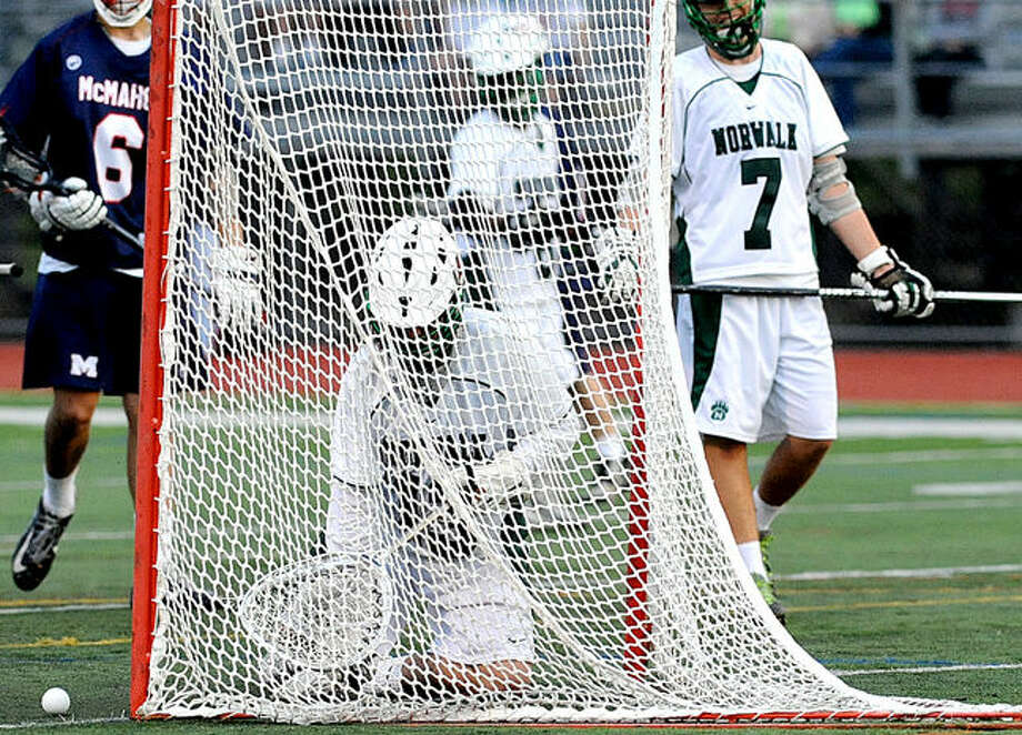 #13 Peter Stocom Norwalk after a McMahon goal on Tuesday. Hour photo/Matthew Vinci