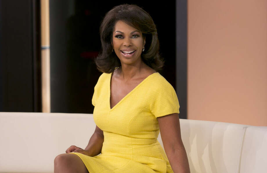 """Harris Faulkner, host of """"Fox Report Weekend"""" on Sunday evenings, as well as serving as a co-anchor on """"Outnumbered,"""" on the Fox News Channel, poses for photos on set, in New York, Tuesday, April 28, 2015. (AP Photo/Richard Drew)"""