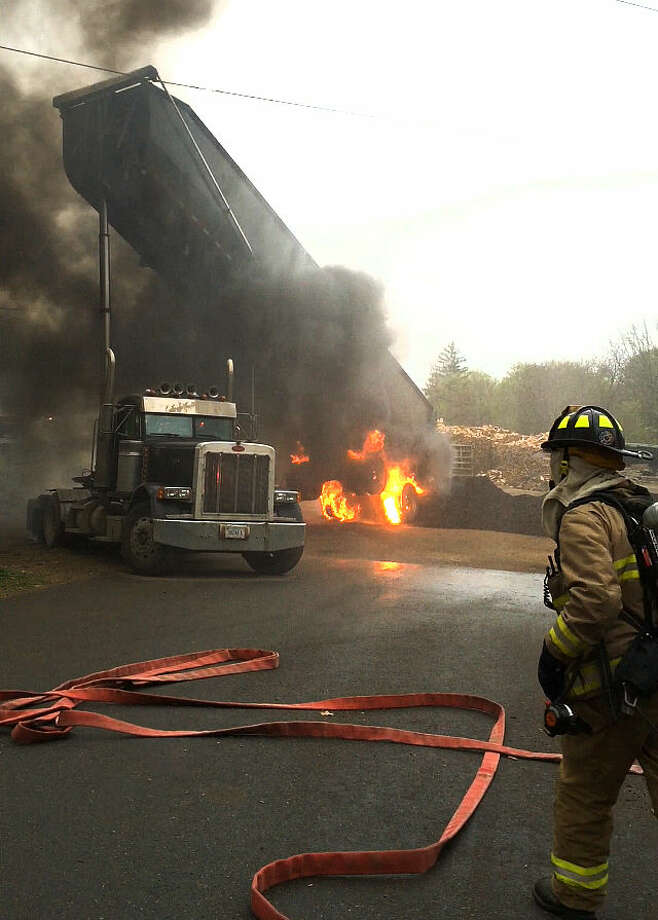 Photo courtesy Wilton Fire DepartmentA truck knocked down wires on Route 7 in Wilton, Wednesday, May 6, 2015.