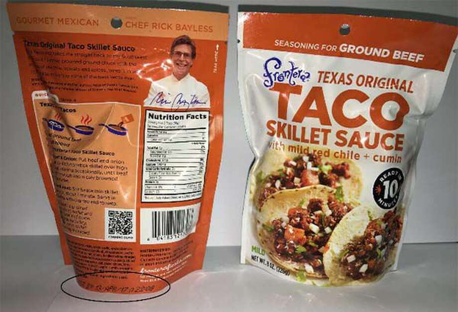 "Frontera Foods of Chicago, Ill. is recalling a total of 720 (8 oz.) packages of its Frontera Texas Original Taco Skillet Sauce because it contains undeclared soy. People who have an allergy or severe sensitivity to soy may run the risk of a serious or life-threatening allergic reaction if they consume this product. The product comes in a printed 8 oz. pouch that is marked with a ""Best By"" date of ""13 APR 17"" on the bottom of the back side of the package. The UPC code for the recalled product is: 6-04183-12170-7. The recalled Frontera Texas Original Taco Skillet Sauce packages were distributed to District Columbia and 11 states, including Connecticut. Read more: http://bit.ly/1rvsMe1"