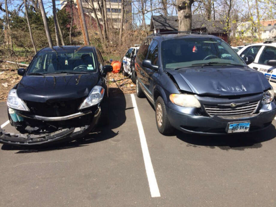 A Stamford woman allegedly struck the elderly mother of a Stamford police investigator Sunday with her minivan and crashed into a car; both vehicles pictured here.