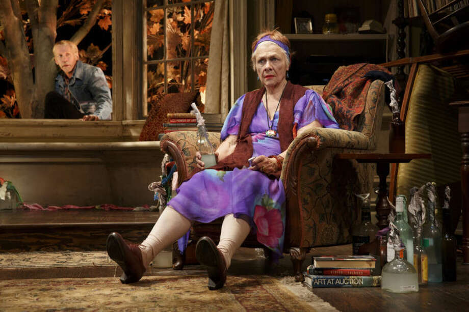 "This image released by Polk & Co., shows Estelle Parsons, right, and Stephen Spinella during a performance of ""The Velocity of Autumn,"" at the Booth Theatre in New York. (AP Photo/Polk & Co., Joan Marcus)"